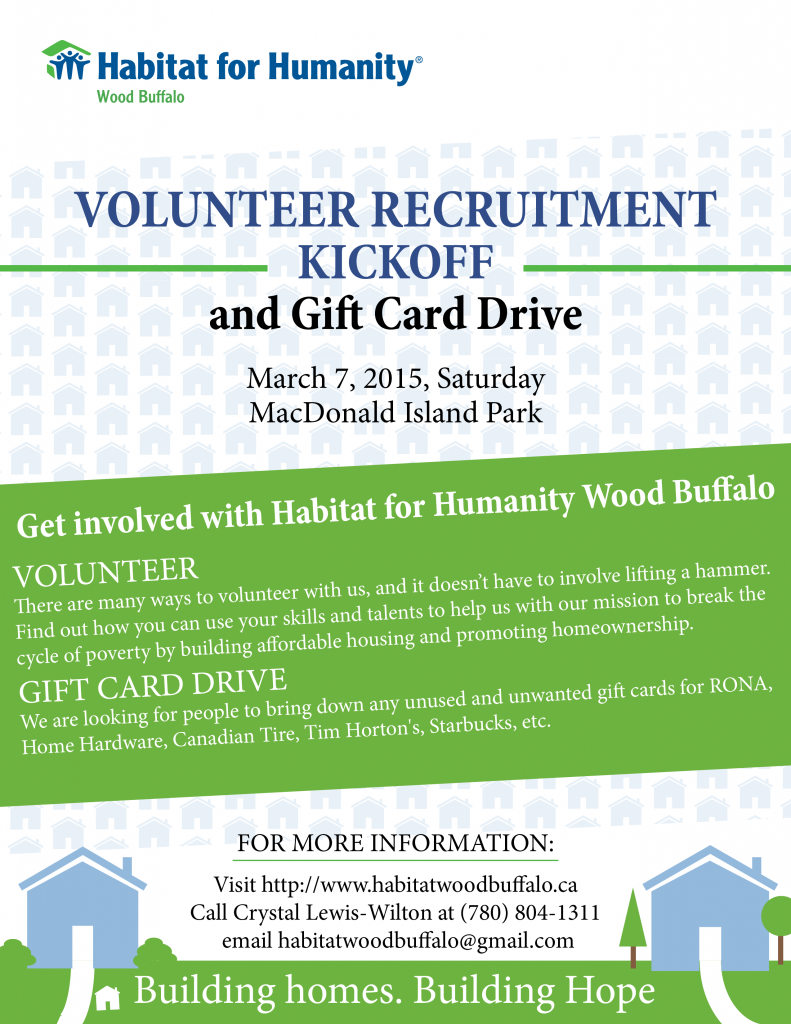Habitat Wood Buffalo: Volunteer Recruitment and Gift Card Drive
