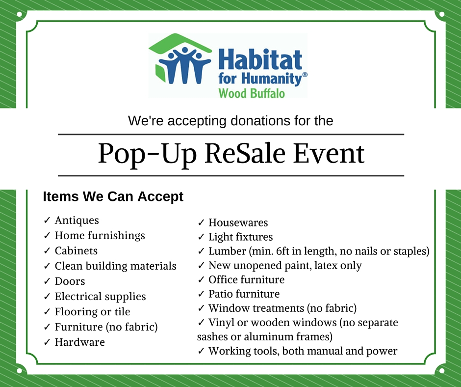 Pop-Up ReSale Event 2015 Accepting Donation