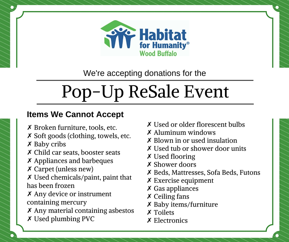 Pop-Up ReSale Event 2015 Donation